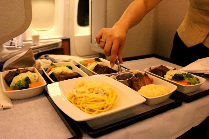 Meal Service, Cathay Pacific CX 256 London to Sydney, Business Class