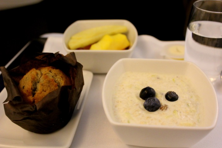 Breakfast is served. Cathay Pacific CX 256, London to Hong Kong , business class