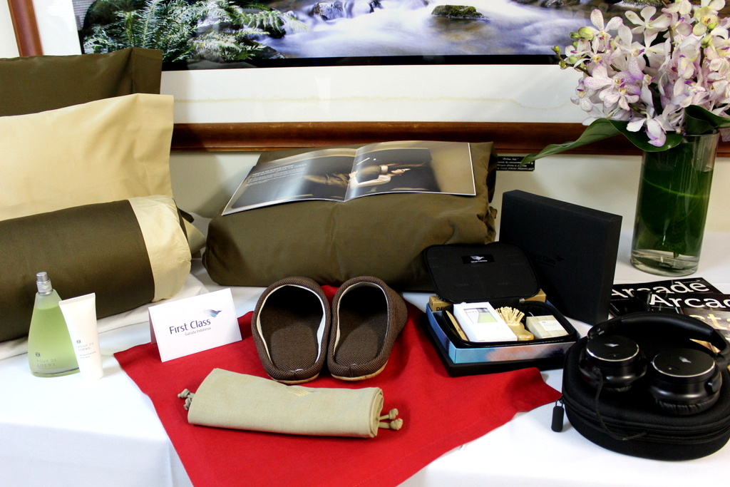 First Class amenities on Garuda Indonesia