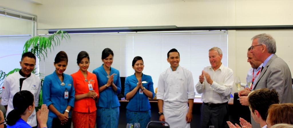 The award-winning cabin crew and management of Garuda Indonesia