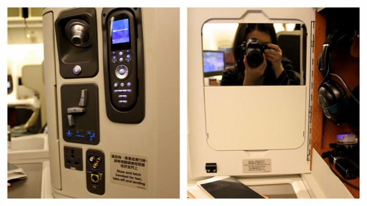 storage space and seat control buttons, remote control for lights and in-flight entertainment and charging outlets
