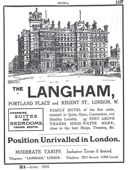 The Langham London's advertisement in 1910