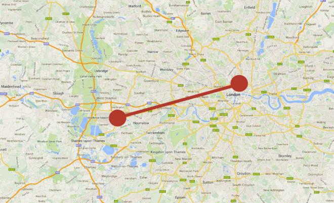 distance from London Heathrow to the city