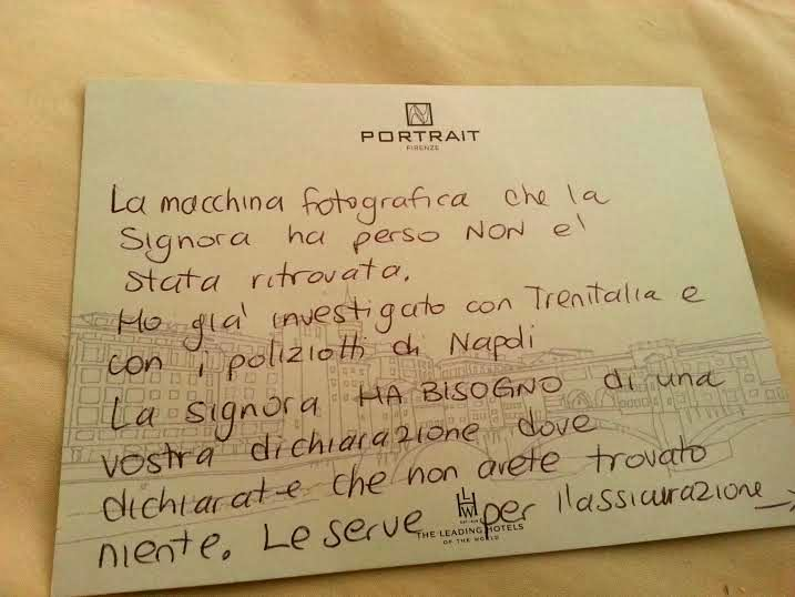Handwritten note for the train station staff by Caterina of Portrait Firenze