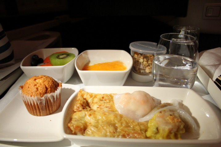 Dim Sum breakfast with Cathay Pacific. Hong Kong to Sydney Business Class CX 111