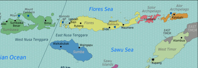 Map of Flores, Indonesia