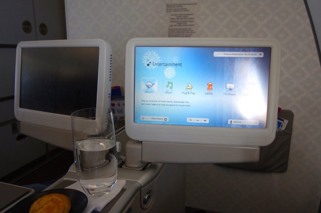Entertainment System. Garuda Indonesia Business Class Sydney to Denpasar A330-300