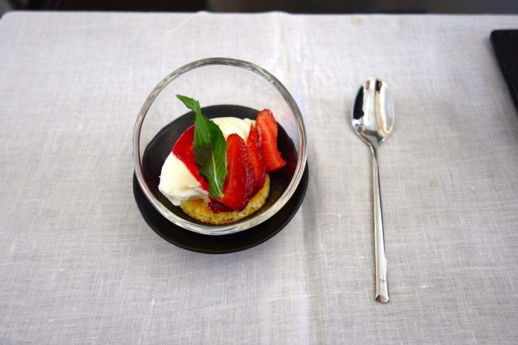 Dessert for the Japanese Meal. Garuda Indonesia Business Class Sydney to Denpasar
