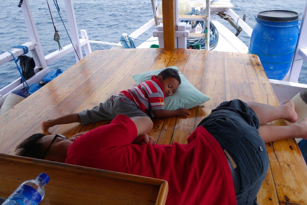 Siesta. Zombie with the Captain's son, Agung