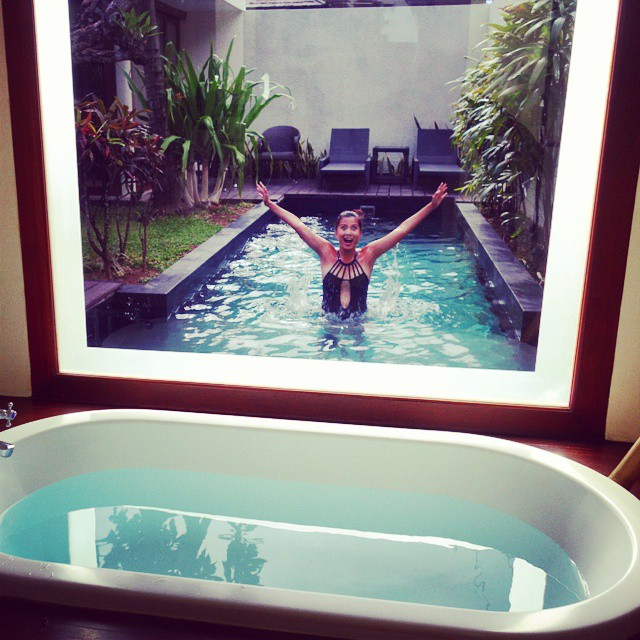 Goofing around: Bathtub that overlooks the pool at Anantara Vacation Club Seminyak Bali