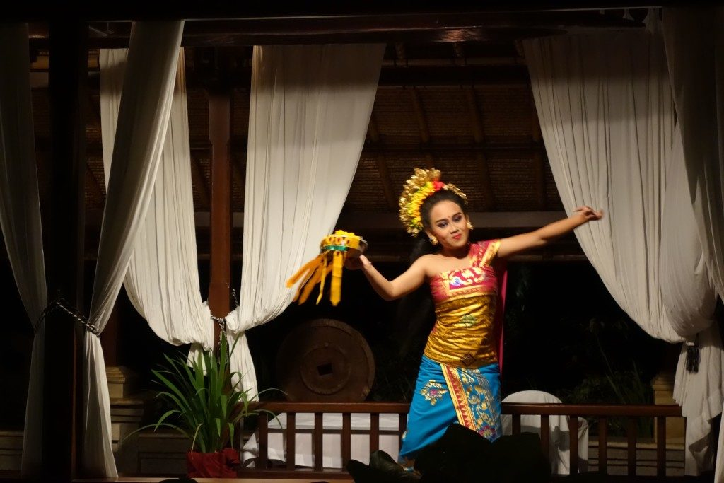 Traditional Balinese dance performance at Cascades Restaurant, Viceroy Bali