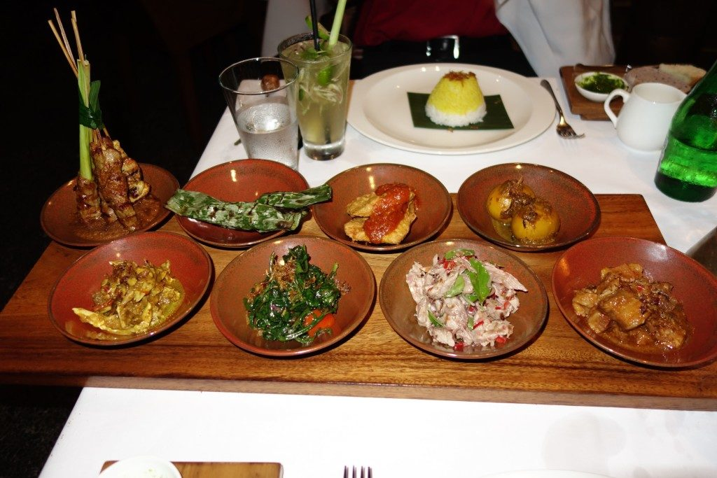 Balinese Rijstaffel Dinner at Plantation Restaurant , Alila Ubud Bali