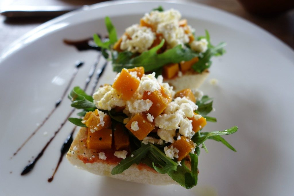 Breakfast at Alila Ubud Bali - Ciabatta slices with rocket, pumpkin and feta