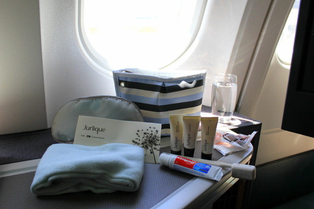 Previous business class amenity kit by Cathay Pacific