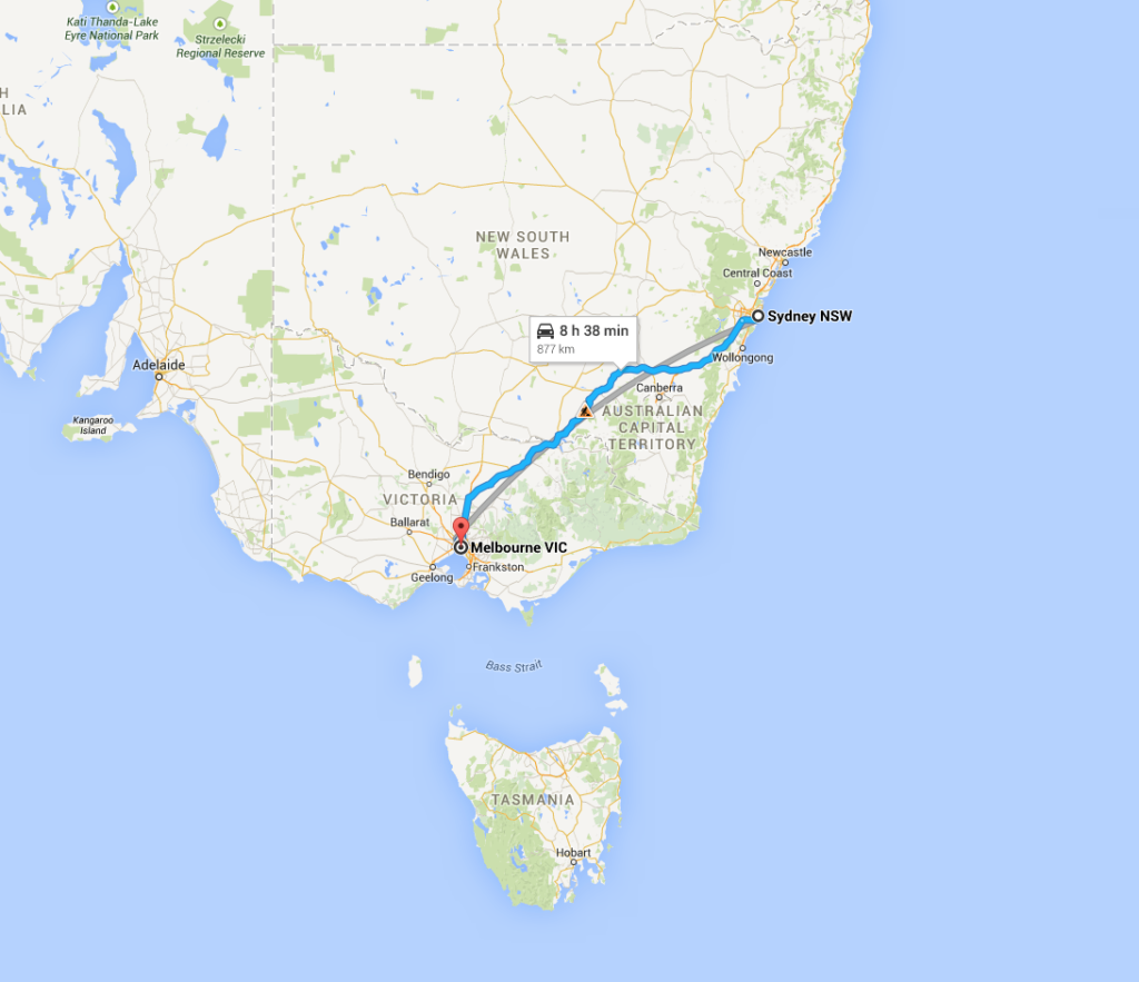 Sydney to Melbourne by car