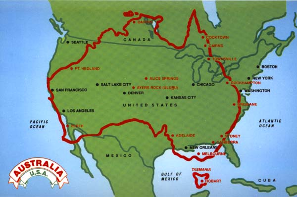 Australia vs USA in size. Image source : AboutAustralia.com