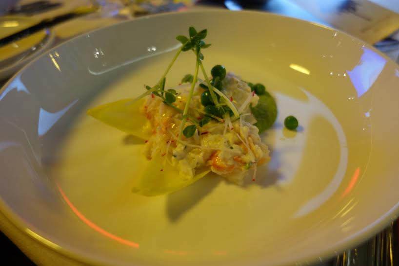 Fraser Isle Spanner Crab with Creme Fraiche, Chives, Radishes and Peas: