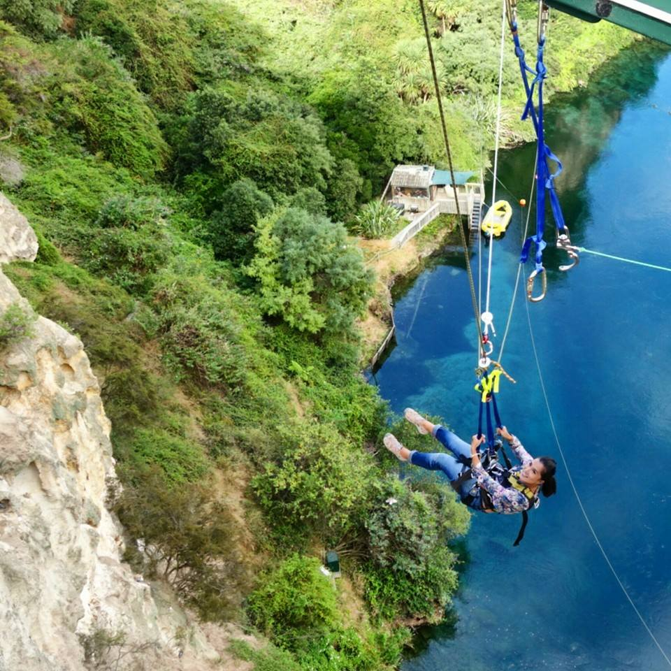 About to go on the Extreme Swing at Taupo Bungy
