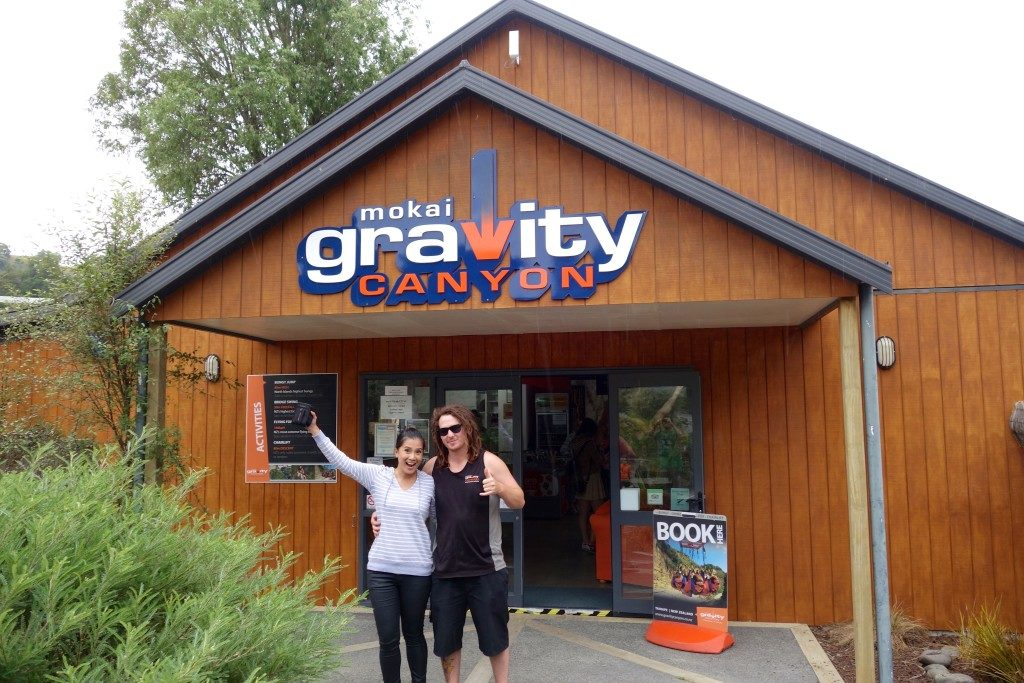 Relieved and feeling very much alive after surviving Gravity Canyon's Giant Swing!