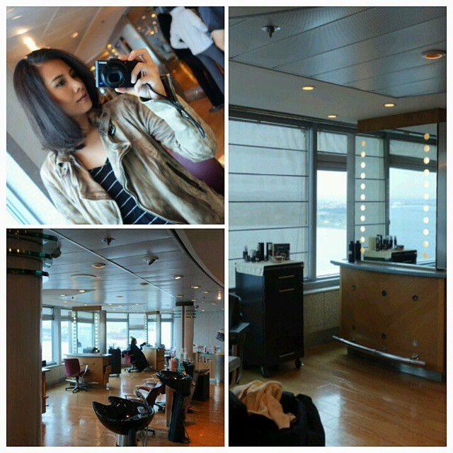 getting my hair treated at the Canyon Ranch Spa on board the Celebrity Constellation
