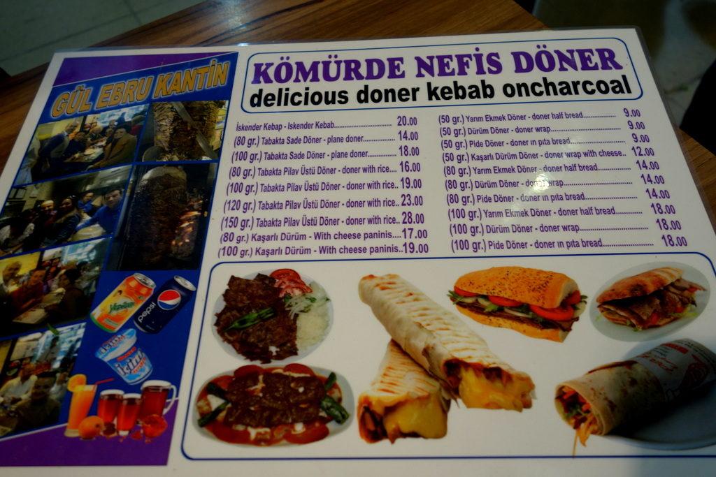 The simple Menu of Gul Ebru Kantin