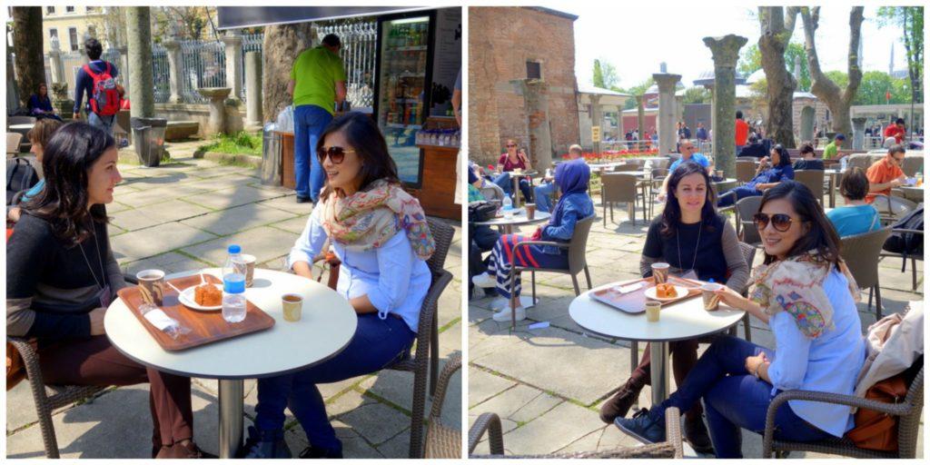 Having mid morning tea outside Hagia Sophia