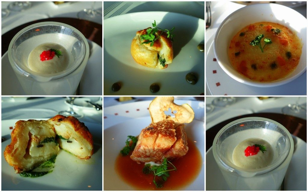the wonderful starters of Ocean Liners restaurant at Celebrity Constellation