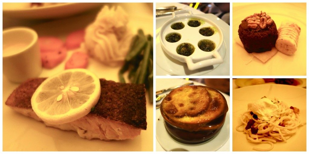 Salmon, Escargot, French Onion Soup, Carbonara, Sticky Date Cake - just some of the things we ate!