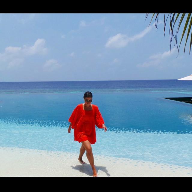 The pool in Huvafen Fushi, Maldives