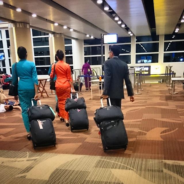 Garuda Cabin Crew boarding. GA 714 Denpasar to Sydney