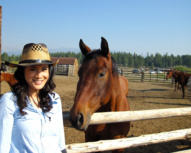 with a happy horse in Idaho