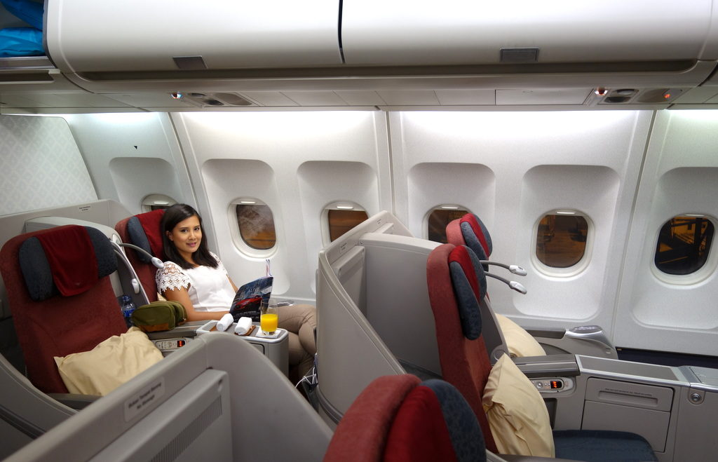 GA 714 Garuda Indonesia's Business Class seat on the A330-300