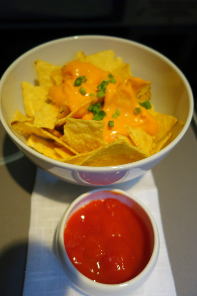 Cheese Nachos with Chilli. In-Between Fuel. Garuda Indonesia Business Class GA 714 Denpasar to Sydney
