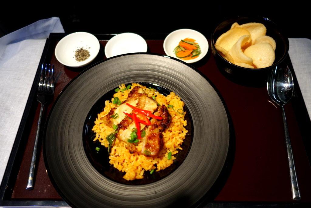 "Nasi Goreng with Marinated Fried Chicken. In-Between Fuel ""snack"". Garuda Indonesia Business class GA 714 Denpasar to Sydney"