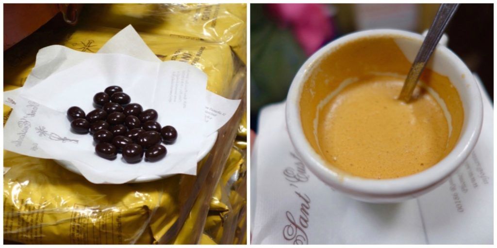 chocolate covered coffee beans, and a cup of cappucino