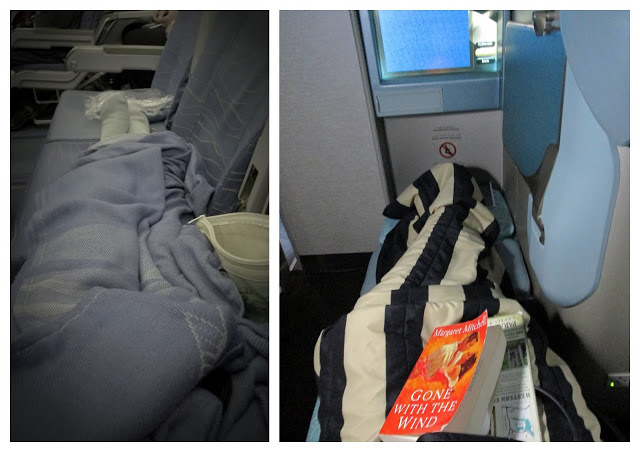 Left: D-I-Y Business Class, Right: actual business class.