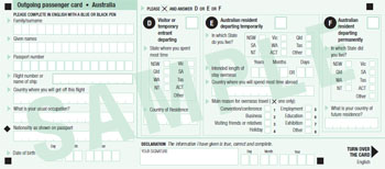Make sure you fill out your outgoing passenger card