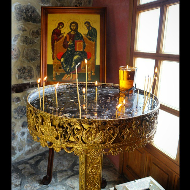 Inside the Monastery of Profitis Ilias