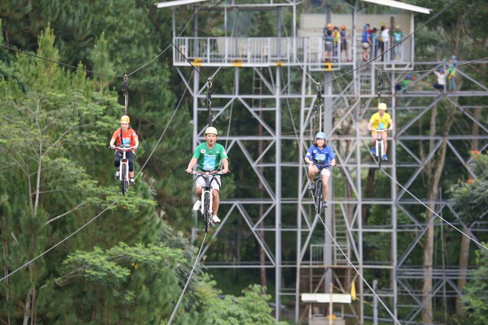 a different kind of race. Cycling on a wire at Eden Nature Park Resort in Davao