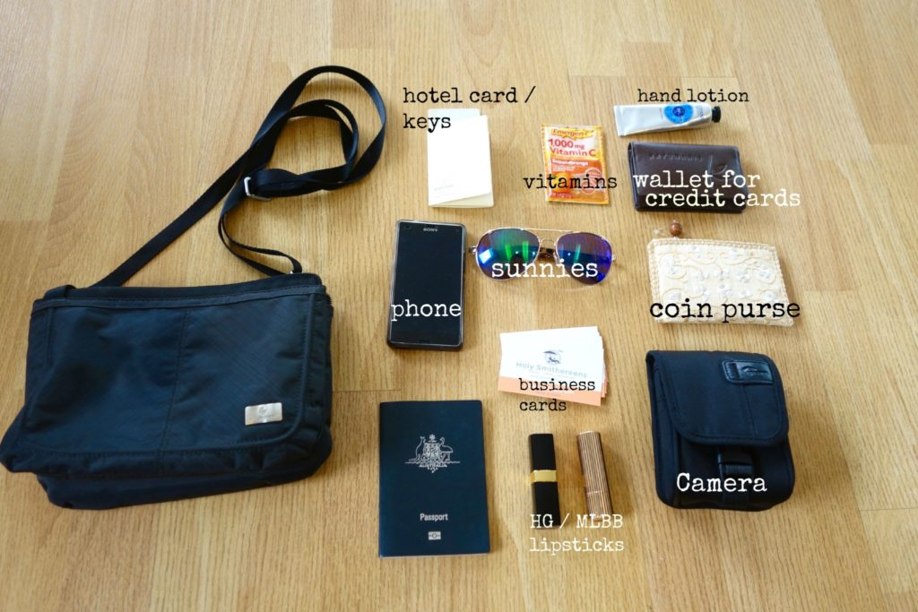 What I had inside my Eagle Creek Mini Accordion RFID Crossbody