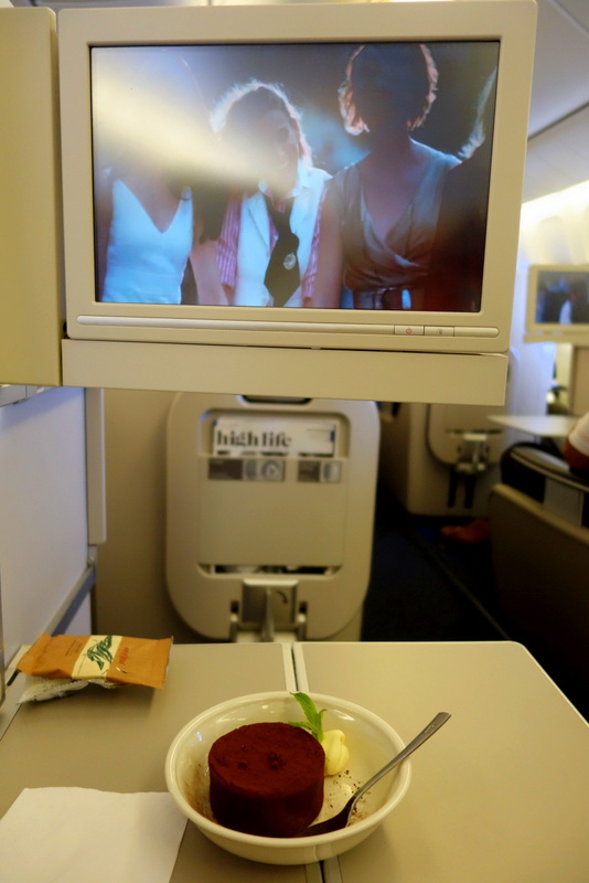 Watching SATC over dessert, British Airways BA 16 Sydney to London Club World (Business Class)