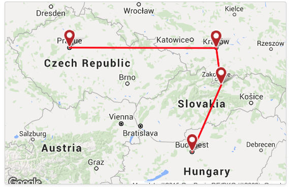 Our Central Europe tour path with JayWay Boutique Travel