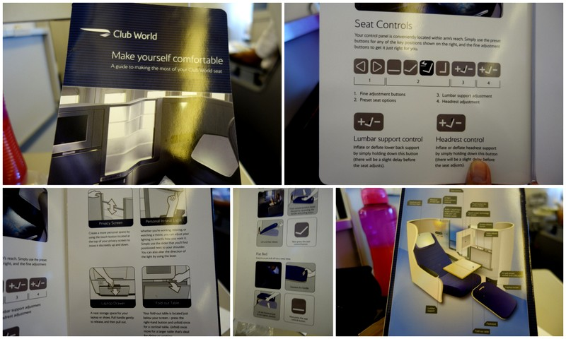 Instruction card, how to use the BA Club World Seat BA 16 Sydney - London