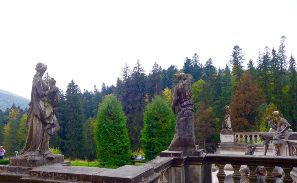 The exterior of Peles Castle in Romania