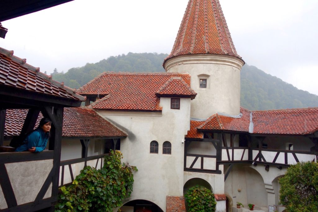 Overlooking the courtyard of Bran Castle