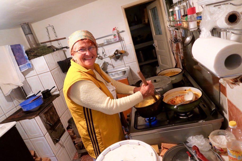 Rodica of Casa Folea making polenta for dinner