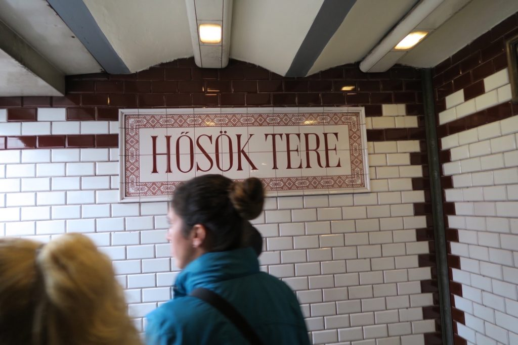 hand painted metro station signs in Budapest