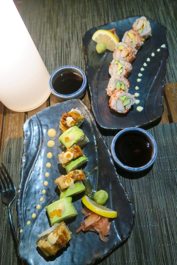Fresh sushi from the Teppanyaki dining at Velassaru Maldives