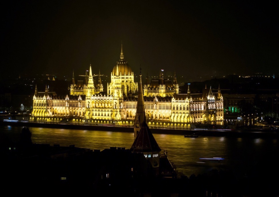 The Hungarian Parliament Building, as seen from Buda side