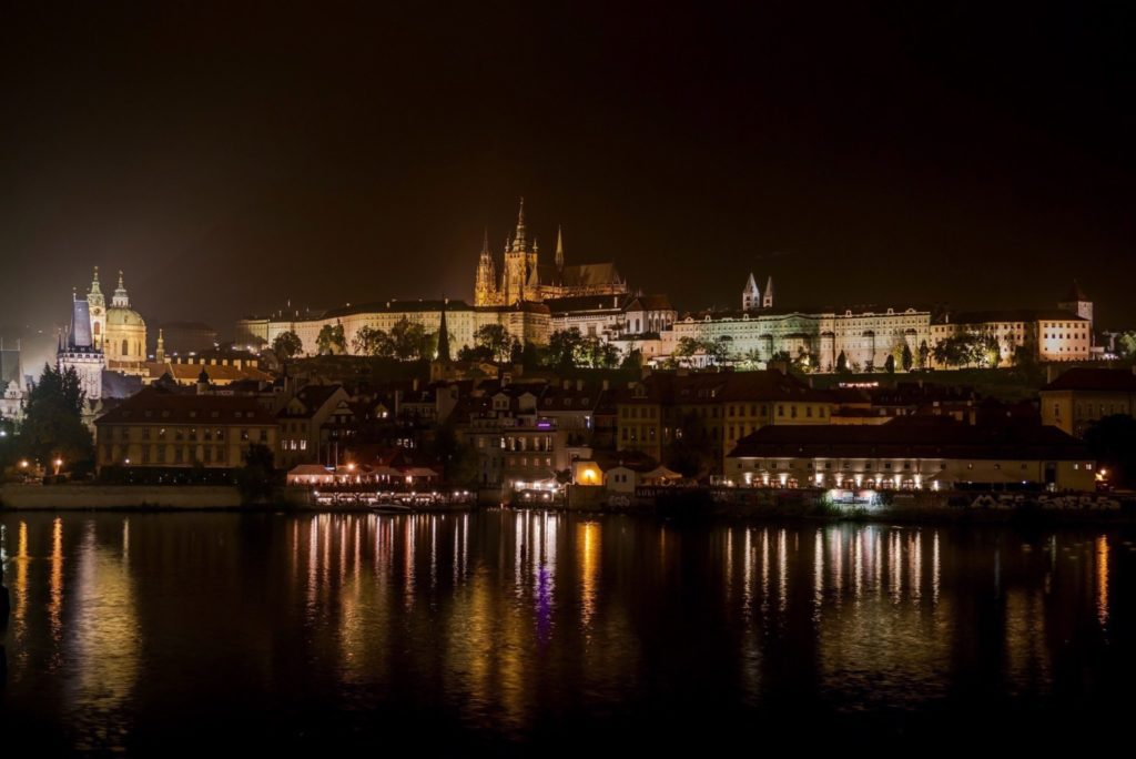 View of Prague Castle at night. www.holysmithereens.com